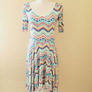 Honey & Lace chevron fit and flare dress size xs